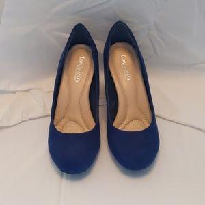 Blue (Faux) Suede Shoes